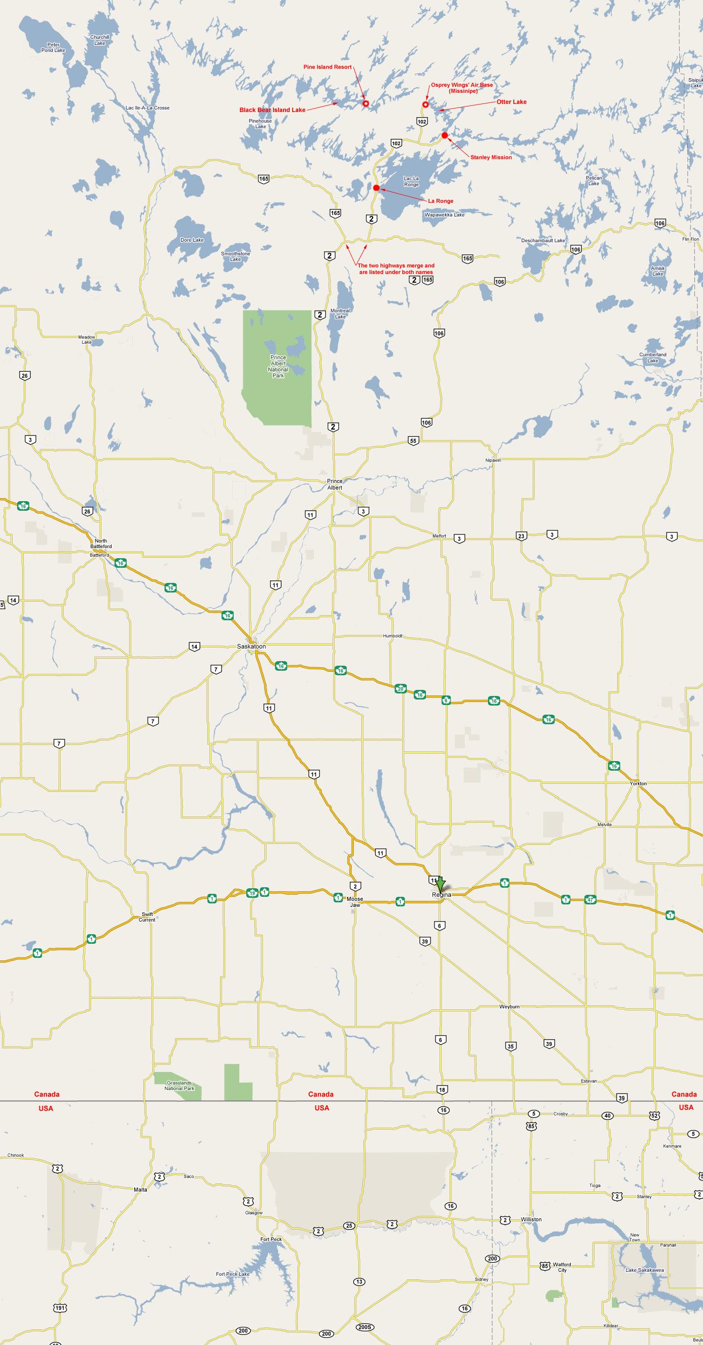 Northern Saskatchewan Road Map
